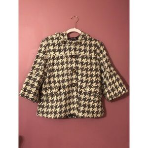 Anthro. Elevenses Houndstooth Jacket with Hood
